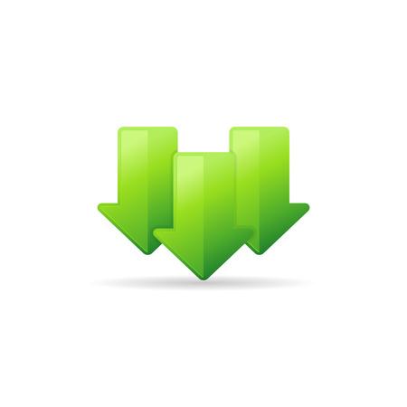 Multiple download arrow icon in color. File data retrieve Illustration