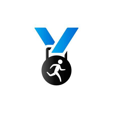 finisher: Athletic medal icon in duo tone color. Sport triathlon marathon