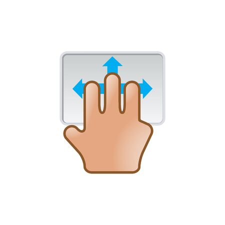 touch screen interface: Finger gesture icon in color. Gadget touch pad smartphone laptop Illustration