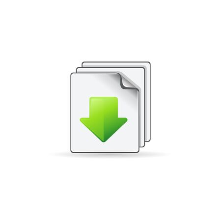 website buttons: Multiple download arrow icon in color. File data retrieve Illustration