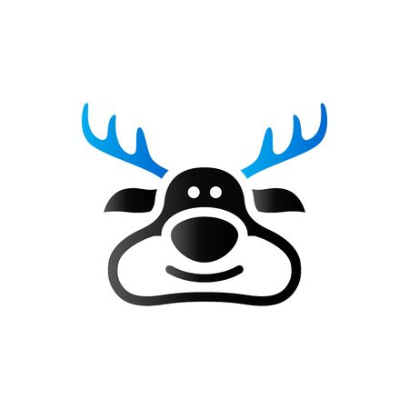 Rudolph the moose icon in duo tone color. animal Santa ride