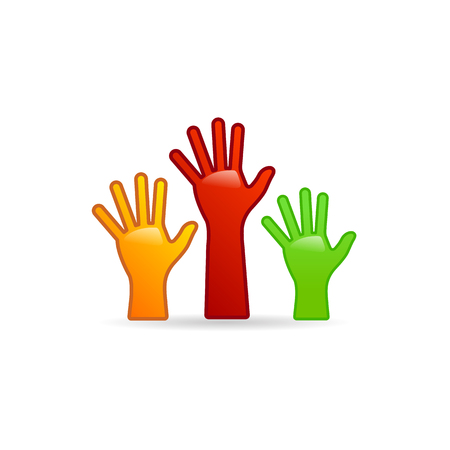 Hands icon in color. Family care kids parents Illustration