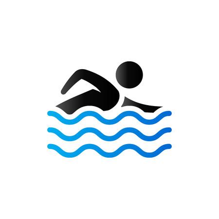 sport man: Man swimming icon in duo tone color. Athlete triathlon sport