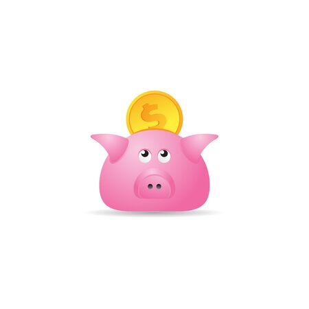 Coin piggy bank icon in color. Saving kids bank Illustration