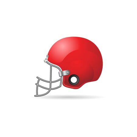 gear symbol: Football helmet icon in color. Sport American head protection Illustration