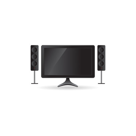 surround system: Home theater icon in color. Entertainment movie family Illustration