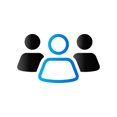 blue button: Teamwork icon in duo tone color. Business collaboration team Illustration