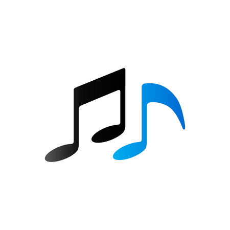 crotchets: Music notes icon in duo tone color. Musical crotchets quaver