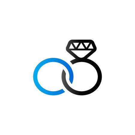 Wedding ring icon in duo tone color.