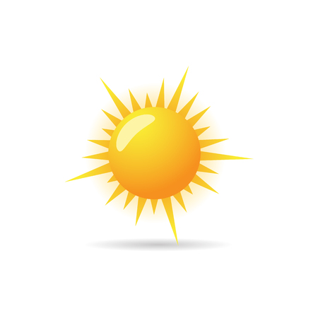 Weather forecast partly sunny icon in color. Meteorology overcast Illustration
