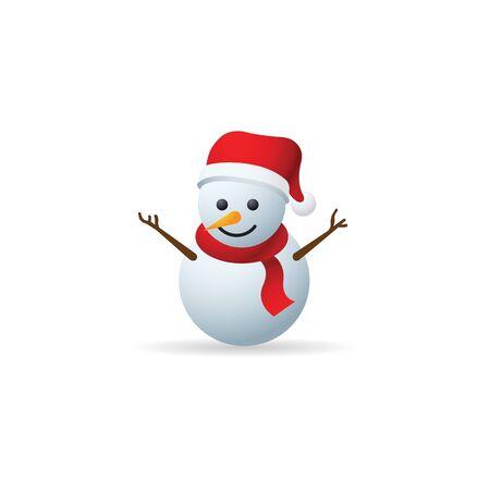 Snowman icon in color. Snow winter December