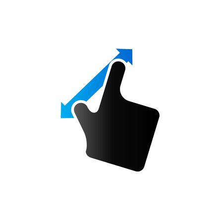 track pad: Finger gesture icon in duo tone color. Gadget touch pad smartphone laptop Illustration