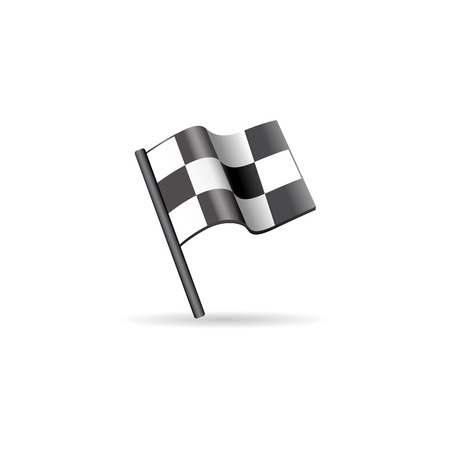street symbols: Race flag icon in color. Sport automotive car rally waving finish Illustration