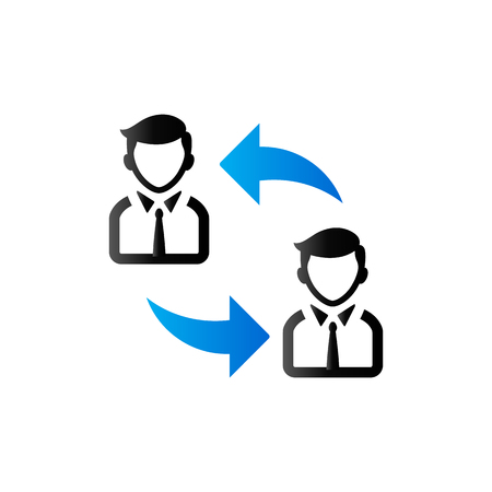 Employee rotation icon in duo tone color. Position human resources