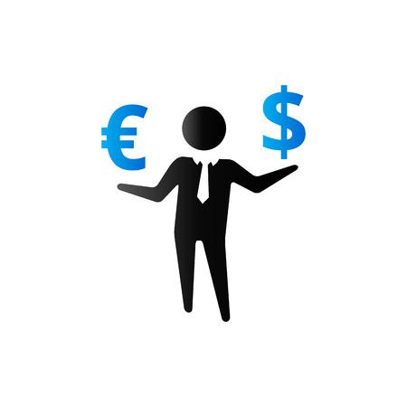 ganancias: Icono de dinero de hombre de negocios en el tono de color dúo. Negocios, riqueza, dólar, señal