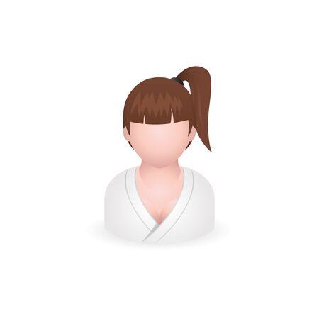 massage symbol: Woman spa client icon in color. Illustration