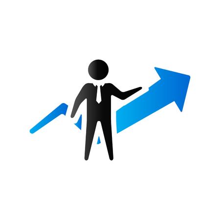 ganancias: icono gráfico del hombre de negocios en el color de tono del dúo. el crecimiento de la financiación empresarial