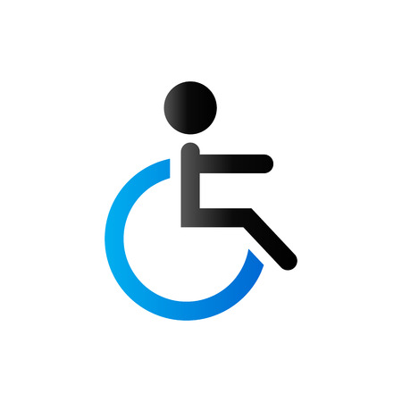 Disabled access icon in duo tone color. Road building wheelchair