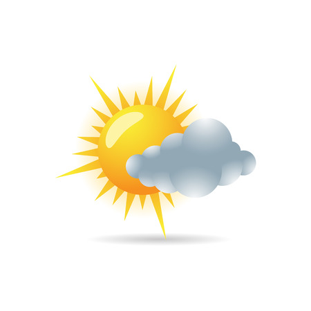 clouds: Weather forecast partly cloudy icon in color. Meteorology overcast Illustration