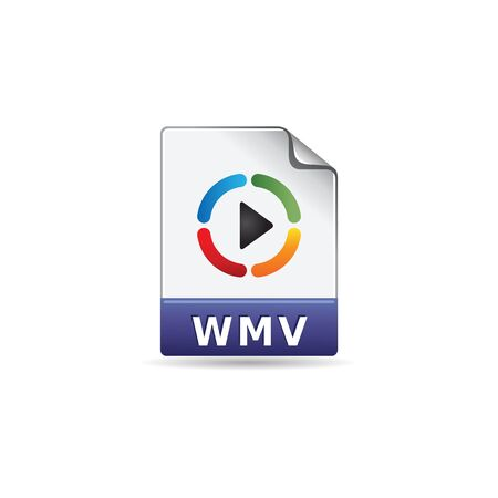 clouds: Video file format icon in color. Movie cinema flick watching Illustration