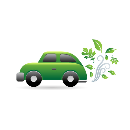 clip art cost: Green car icon in color. Low emission electric vehicle