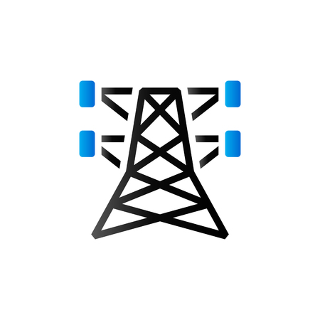 wire: Pylon icon in duo tone color. Electricity high voltage Illustration