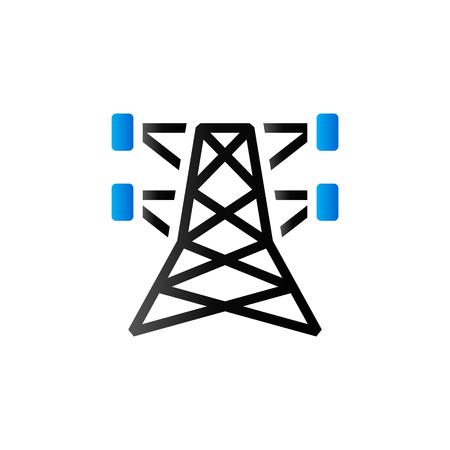 pylon: Pylon icon in duo tone color. Electricity high voltage Illustration