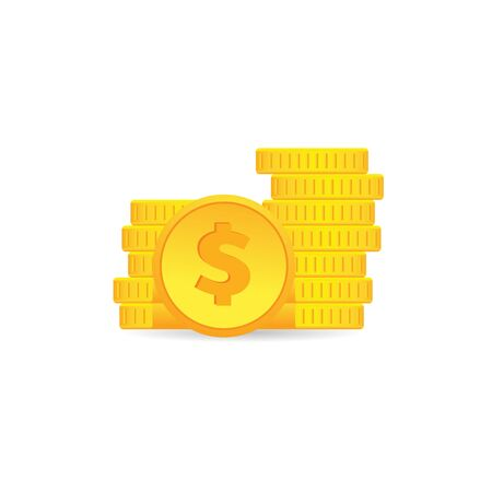 Coin money icon in color. Wealth finance investment