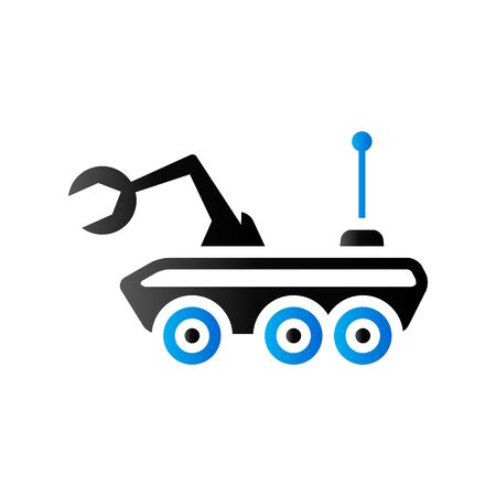 Space rover icon in duo tone color. Vehicle exploration planet Illustration