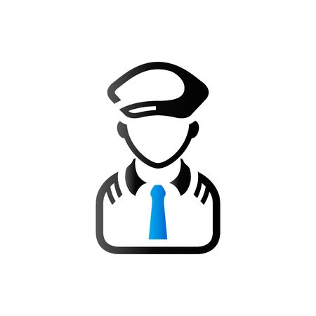 Pilot avatar icon in duo tone color. People aviation airplane Illustration