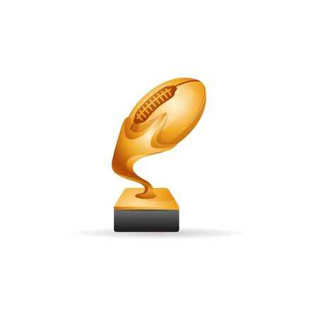 American football trophy icon in color. Winner champion