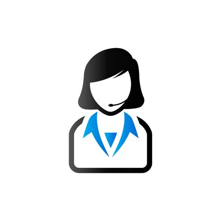 Female receptionist icon in duo tone color. Call center support