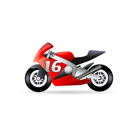 Motorcycle icon in color. Sport speed race