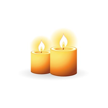 Candles icon in color. Light memorial fire