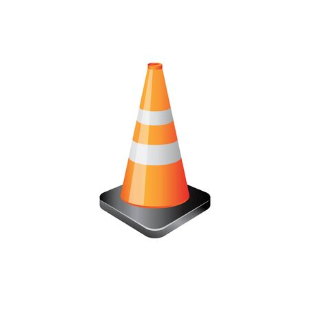danger: Traffic cone icon in color. Road construction warning