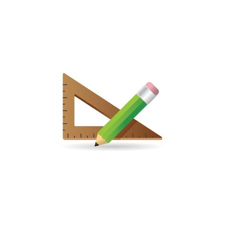 scale: Pencil and ruler icon in color. Education equipment measure Illustration