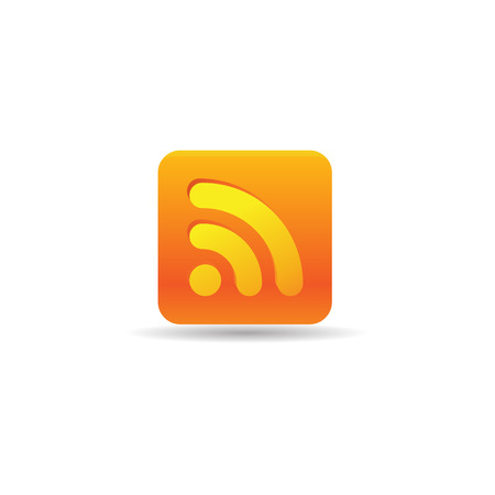 Cup icon with RSS symbol in color. Reader feed syndication Illustration