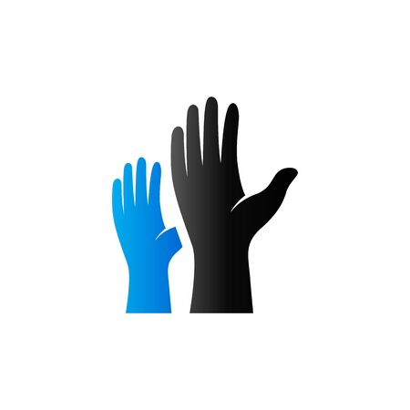Hands icon in duo tone color. Family care kids parents Illustration