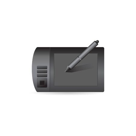 electronic: Drawing tablet icon in color. Illustrator computer digital painting Illustration