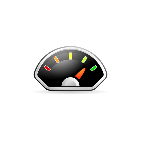 Dashboard icon in color. Control panel odometer speedometer Illustration