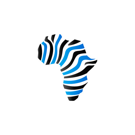 Africa map striped icon in duo tone color. Continent safari travel Illustration