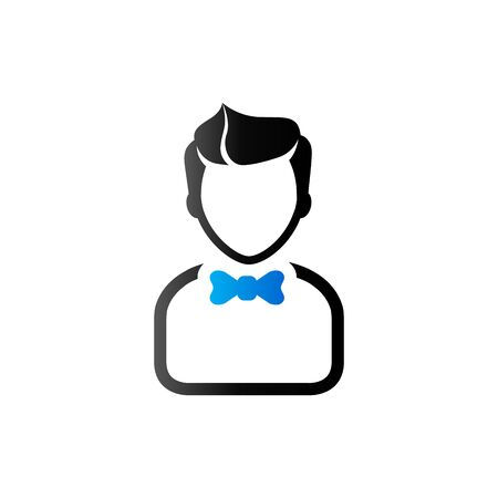Waiter avatar icon in duo tone color. Restaurant cafe service