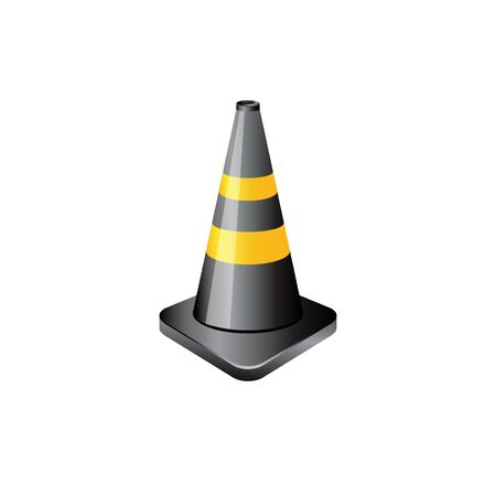 security: Traffic cone icon in color. Road construction warning