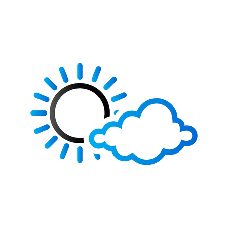 Weather forecast partly sunny icon in duo tone color. Meteorology overcast