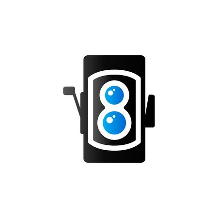 photo: Twin lens reflex camera icon in duo tone color. Vintage retro photography Illustration