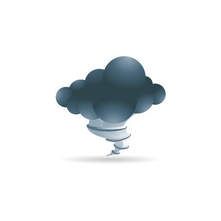 clouds: Weather overcast storm icon in color. Nature forecast thunder