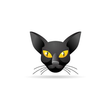 Cat icon in color. Animal black kitten