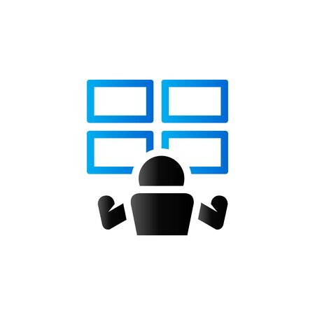 watching: Surveillance room icon in duo tone color. Monitor CCTV protection Illustration
