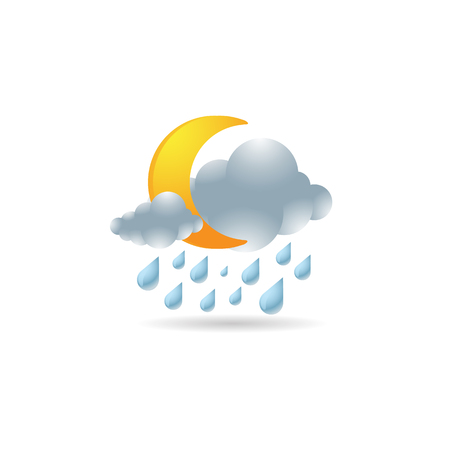clouds: Weather overcast rainy icon in color. forecast night raining cloudy cold