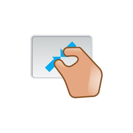 laptop: Finger gesture icon in color. Gadget touch pad smartphone laptop Illustration